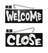 【WELCOME/CLOSE・横】木製サインブラックバージョン(中)