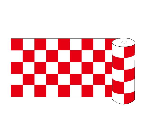 画像1: 【ビニール幕市松柄 紅白】60cm×約50m巻 1升は約10cm角 (1)